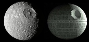 Many people think that Mimas, one of Saturn's moons, totally looks like the Death Star! (Paul T via Flickr/Creative Commons)