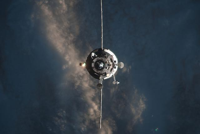 Russia's space cargo vehicle Progress 57 is seen approaching the International Space Station on 10/29/14, just hours after a NASA rocket carrying a similar spacecraft exploded. (NASA)