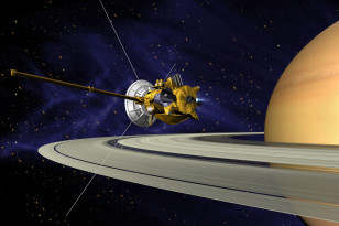 Artist's concept of the Cassini spacecraft during Saturn orbit insertion. (NASA/JPL/Caltech)