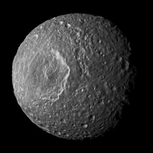 This mosaic of Saturn's moon Mimas was created from images taken by NASA's Cassini spacecraft during its closest flyby of the moon on Feb. 13, 2010. (NASA/JPL-Caltech/Space Science Institute)