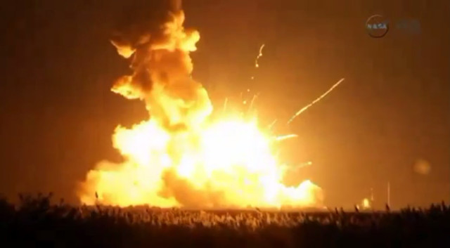 An unmanned Antares rocket that was to send a commercial cargo spacecraft to the International Space Station exploded into a spectacular ball of fire seconds after launch on 10/28/14. (NASA-TV)