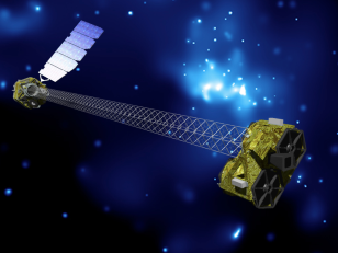 Artist's concept of NuSTAR spacecraft in orbit. (NASA/JPL-Caltech)