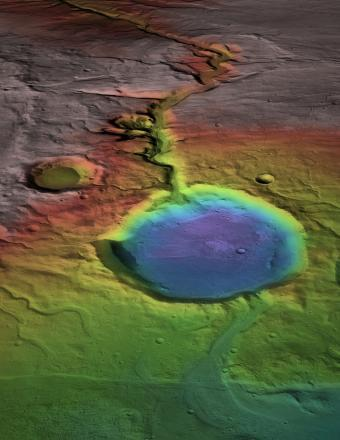 Early in Mars history water formed an open-basin lake, filling the crater, forming a delta, and breaching the lower rim as water flowed to lower elevations (blue). (NASA/James Dickson, Brown University)