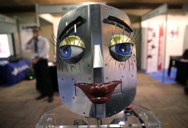 This humanoid robot face was displayed during the International Conference on Humanoid Robots in Madrid, Spain on November 19, 2014. (Reuters)