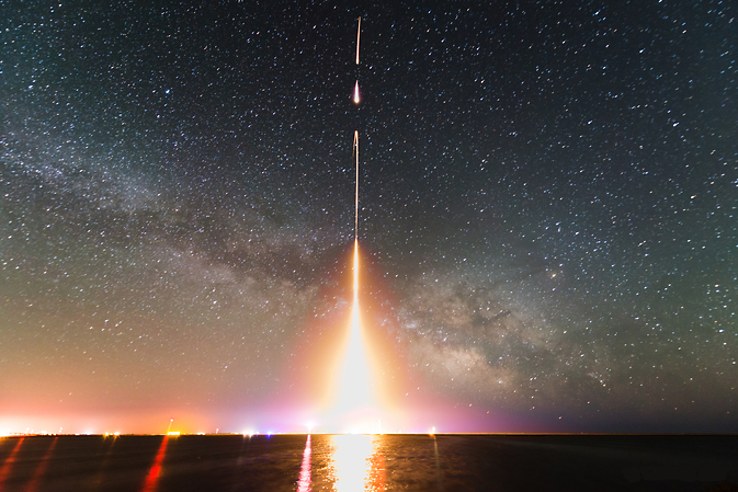 Time-lapse photograph of one of the last Cosmic Infrared Background Experiment (CIBER) rocket launchses. Image was taken in 2013 at NASA's Wallops Flight Facility in Virginia. (T. Arai/University of Tokyo)
