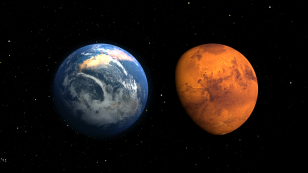 This artist's concept depicts the early Martian environment (left) – believed to contain liquid water and a thicker atmosphere – versus the cold, dry environment seen at Mars today. (NASA's Goddar Space Flight Center)