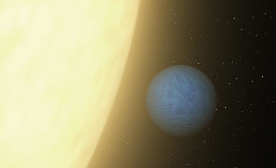 An artist's concept of exoplanet 55 Cancri e as it closely orbits its star 55 Cancri A (NASA/JPL-Caltech)