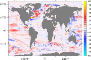 "The red areas show where the ocean has been taking up more heat during the global ""warming hiatus."" (University of Southampton)"