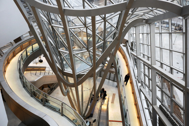 "A visitor gets an early look at the ""Musee des Confluences"", a brand new science and anthropology museum in Lyon, France on 12/18/14.  The museum, designed by Austrian architect Wolf Dieter Prix officially opened its doors to the public on 12/20/14. (AP)"