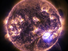 NASA's Solar Dynamics Observatory (SDO) captured this image of the sun as it pumped out a powerful X1.8-class flare solar flare on 12/19/14. X-class flares are the biggest and most intense of these solar explosions that blast large amounts of energy, light and high speed particles into space. (NASA)