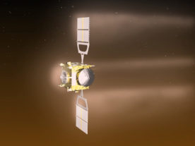 Artist impression of ESA's Venus Express conducting special maneuvers to lower its orbit around Venus ((c) ESA–C. Carreau)
