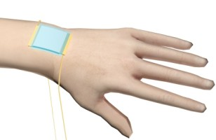 "A new kind of stretchy ""electronic skin"" (blue patch) is the first to be able to detect directional pressure. (American Chemical Society)"