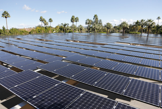 On 1/14/15, Starwood Hotels & Resorts Worldwide, Inc. and NRG Energy unveiled a solar array that was built atop the Phoenician Resort in Scottsdale, Ariz.  The array features 2,000 photovoltaic solar panels and will produce about 600 kilowatts of power.  (Invision for NRG Renew/AP)