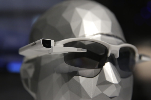 Sony displayed a prototype of its SmartEyeglass Attach on 1/5/15 at the International Consumer Electronics Show (CES), in Las Vegas. (AP)