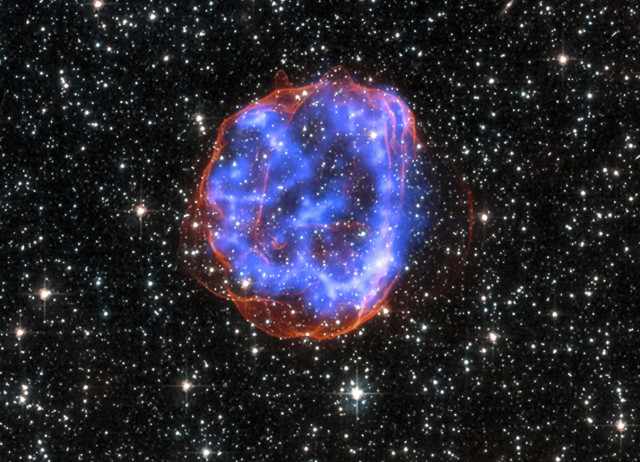 On 1/23/15, NASA released this image of an expanding shell of debris that was left after a massive star exploded in the Large Magellanic Cloud.  The image was constructed with information from both the Chandra X-Ray Telescope and the Hubble Space Telescope.  (Reuters/NASA/CXC/SAO)