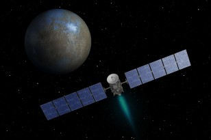 Artist concept of NASA's Dawn spacecraft heading toward the dwarf planet Ceres. (NASA/JPL-Caltech)