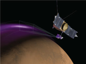 "Artist's conception of MAVEN's Imaging UltraViolet Spectrograph (IUVS) observing the ""Christmas Lights Aurora"" on Mars. (University of Colorado)"