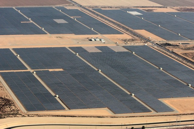 Here's an aerial view of SunEdison and TerraForm Power's Regulus solar facility in Kern County, California that began generating solar energy on 2/18/15 (PRNewsFoto/SunEdison, Inc.)