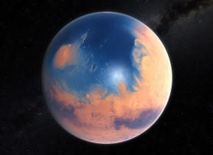 An artist's impression shows how Mars may have looked about four billion years ago. (ESO/M. Kornmesser/N. Risinger/skysurvey.org)