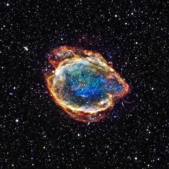 This composite of x-ray and infrared images taken by the Chandra X-ray Observatory, released on 2/12/15, is supernova remnant G299.2-2.9 left over by a type Ia supernova.  It's located about 16,000 light years from earth.  (NASA/CXC/U.Texas)