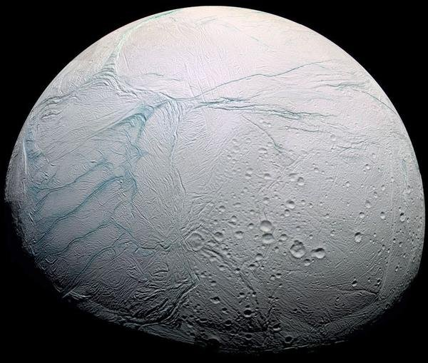 Saturn's icy moon Enceladus as seen by the Cassini spacecraft. (NASA/JPL)