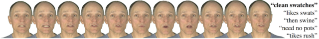 A series of facial movements that are used when pronouncing phrases listed on the right (Disney Research