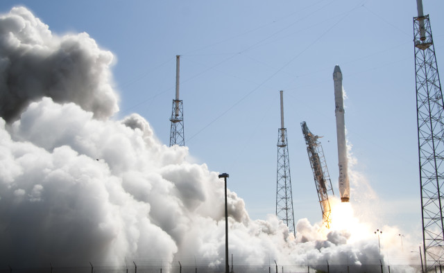 A SpaceX Falcon 9 rocket, carrying a Dragon cargo spacecraft, was launched from Cape Canaveral Air Force Station in Florida on 4/14/15. (NASA)