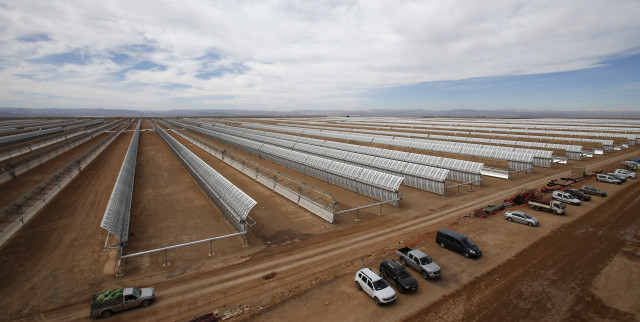 This is the Noor I solar power plant near Ouarzazate, Morocco on 4/24/15.  Construction of the 160 megawatt solar power station is nearly complete. (AP)