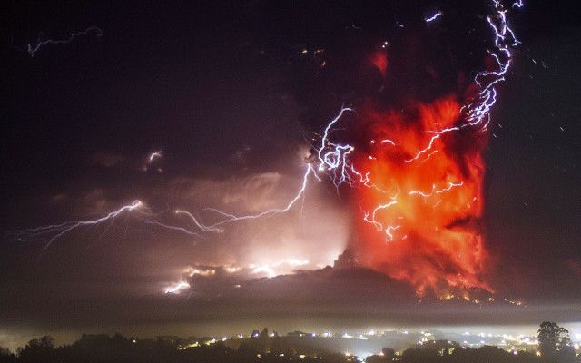 The Calbuco volcano, near Puerto Varas, Chile, recently erupted for the first time in more than 42 years.  Here's a spectacular photo of the volcano erupting the night of 4/23/15. (AP)