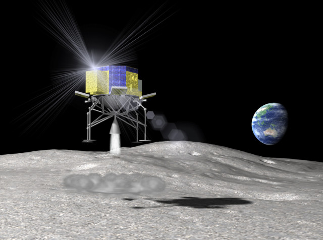 Japan's space agency JAXA recently announced that it is considering an unmanned mission to the moon by 2018 or early 2019.  This is an artist's rendering of the proposed Japanese lunar spacecraft SLIM (Smart Lander for Investigating Moon) as it is about to touch down on the lunar surface (Japan Aerospace Exploration Agency via AP)