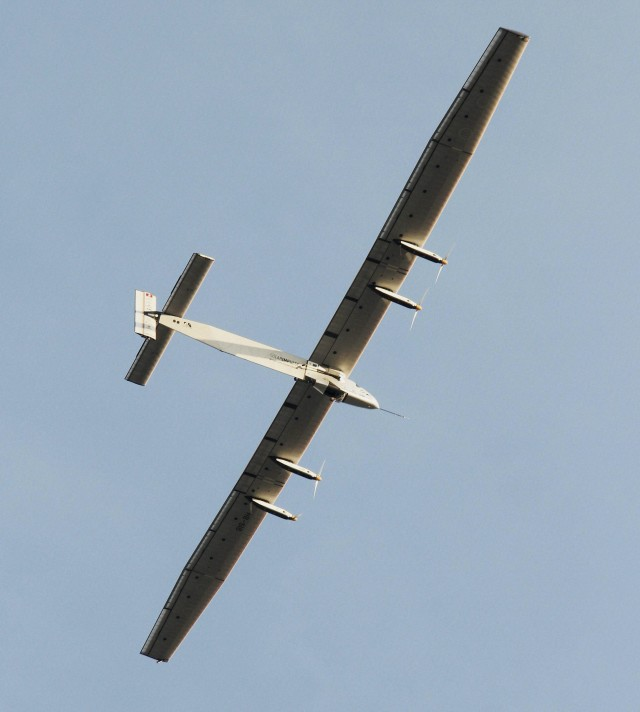 The Solar Impulse-2 takes off from Ahmadabad, India on 3/18/15 as it begins the third leg of its' historic round-the-world trip. The sun-powered aircraft began its voyage on 3/9/15 in Abu Dhabi, UAE where it is scheduled to return in 8/15 (AP/Press Trust of India)