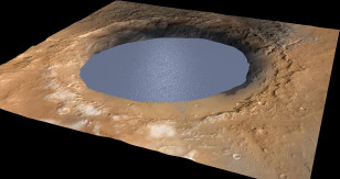 The researchers believe that Gale Crater was a large lake between 3.5 and 2.7 billion years ago. (NASA/JPL/Caltech/ESA/DLR/MSSS)