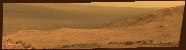 "This is a mosaic of images taken by the panoramic camera aboard NASA's Mars Exploration Rover Opportunity shows part of the Red Planet's ""Marathon Valley"".  The images that make up this mosaic were taken on 3/13/15, during the 3,958th Martian day, or sol, of Opportunity's work on Mars.  (NASA/JPL-Caltech/Cornell University/Arizona State University)"