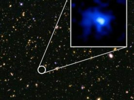 The galaxy EGS-zs8-1 sets a new distance record. It was discovered in images from the Hubble Space Telescope from the CANDELS survey. (NASA, ESA, P. Oesch and I. Momcheva (Yale University), 3D-HST and HUDF09/XDF Teams)