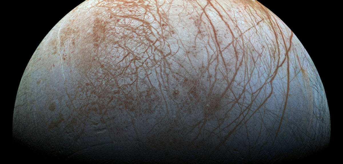 The unique surface of Jupiter's moon Europa can be seen in this reprocessed color view, made from images taken by NASA's Galileo spacecraft in the late 1990s. (NASA/JPL-Caltech/SETI Institute)