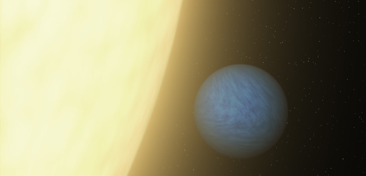 Artist rendering of super-Earth exoplanet 55 Cancri e in close orbit with its sun. (NASA)