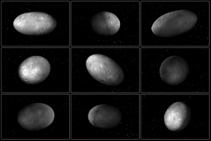 "This set of computer modeling illustrations of Pluto's moon Nix shows how the orientation of the moon changes unpredictably as it orbits the ""double planet"" Pluto-Charon. (NASA/ESA/M. Showalter (SETI)/G. Bacon (STScI))"
