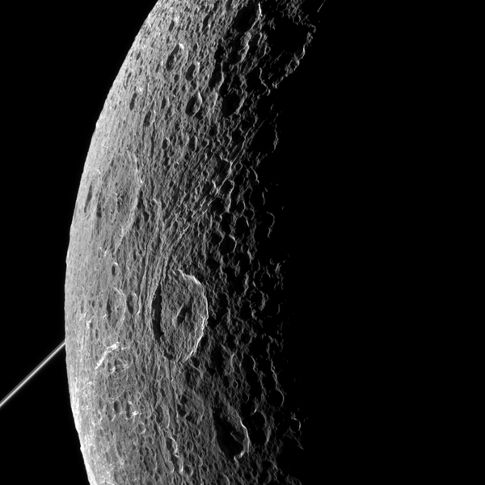 NASA's Cassini spacecraft flew past Saturn's moon Dione on June 16, 2015. (NASA/JPL-Caltech/Space Science Institute)