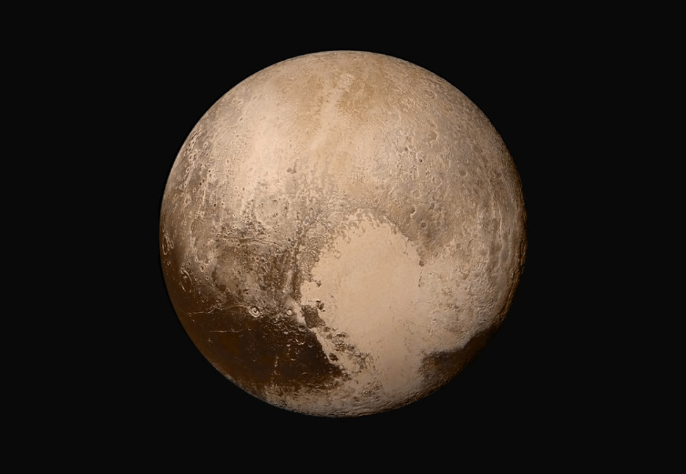 This image of Pluto, released 7/24/15, was made by combining several images from two cameras on NASA's New Horizons spacecraft when it was about 450,000 km from the dwarf planet.  (NASA/JHUAPL/SwRI)