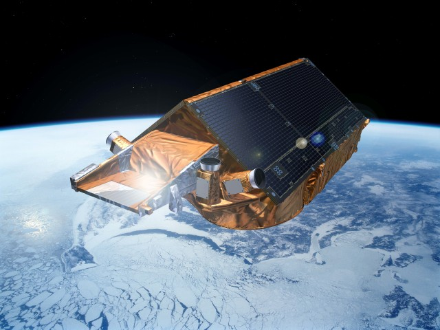 ESA's CryoSat satellite scans polar ice sheets and floating sea ice.  ((c) ESA/P. Carril)