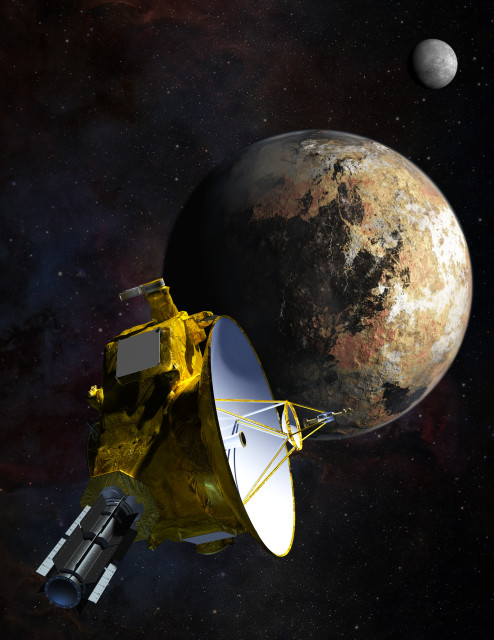 Artist's concept of the New Horizons spacecraft as it approaches Pluto and its largest moon, Charon. (Johns Hopkins University Applied Physics Laboratory/Southwest Research Institute (JHUAPL/SwRI))