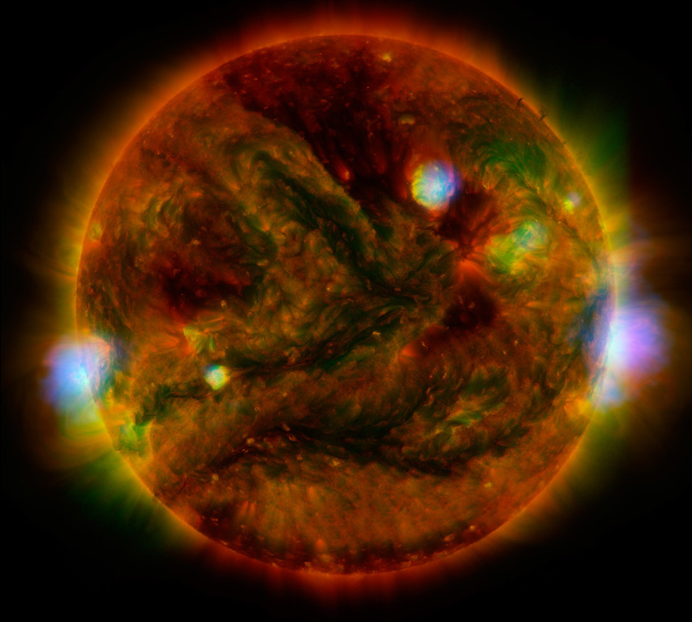 NASA's NuSTAR telescope has captured high-energy X-rays coming from active regions across the sun. This image was created by combining observations from NuSTAR along with several other telescopes. The image was presented on 7/8/15 at the Royal Astronomical Society's National Astronomy Meeting in Llandudno, Wales. (NASA/JPL-Caltech/GSFC/JAXA)