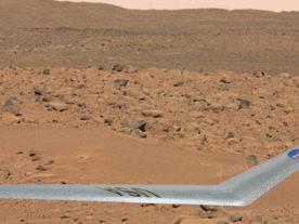 Artist's concept of NASA's boomerang-like drone flying above the Martian surface (NASA)