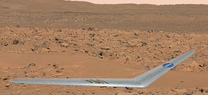 Artist's concept of NASA's boomerang-like drone flying above the Martian surface (NASA)