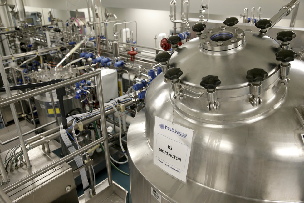 A bioreactor stands in the production facilities of Protein Sciences in Pearl River, New York, Tuesday on 8/18/15. Protein Sciences is among the companies working on a greater variety of vaccine options for the coming flu season.  The company's genetically engineered vaccine called Flublok was developed for people allergic to eggs.   Those with egg allergies are unable to receive regular flu vaccines. (AP)