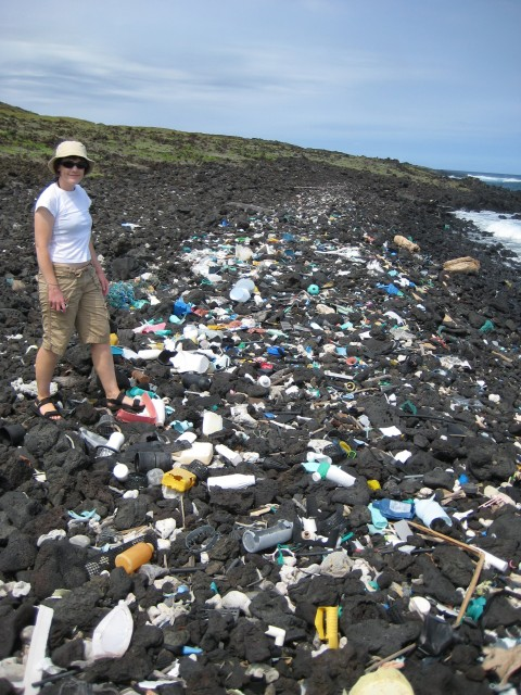 Plastic ocean debris littering Hawaiian shoreline. Hawaii is located near the center of the North Pacific gyre where debris tends to concentrate. (NOAA)