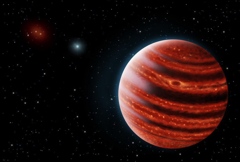 An artistic conception of the Jupiter-like exoplanet, 51 Eridani b (Danielle Futselaar & Franck Marchis, SETI Institute)