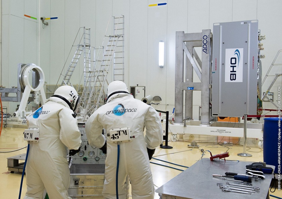 The European Space Agency's ninth and tenth Galileo satellites are being fueled by technicians wearing protective SCAPE suits within the Guiana Space Centre's 3SB preparation building on 8/24/15.  The satellites are scheduled to be launched on 9/10/15. (ESA/CNES/ARIANESPACE-Service Optique CSG JW Guillon)
