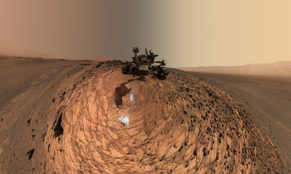 "On 8/5/15, NASA's Curiosity Mars rover took a low-angle self-portrait of itself from above the ""Buckskin"" rock target in the ""Marias Pass"" area of lower Mount Sharp.  (NASA/JPL-Caltech/MSSS)"