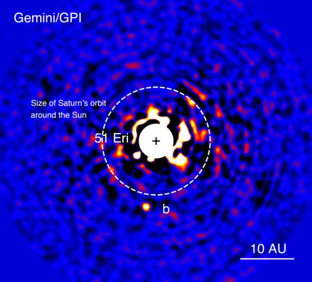 This image of planet 51 Eridani b was taken with the Gemini Planet Imager in near-infrared light in December 2014. (Julien Rameau (UdeM) and Christian Marois (NRC Herzberg))
